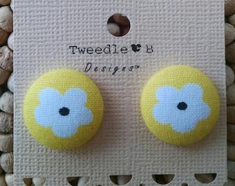Fabric Button Earrings -  Yellow & White Daisy