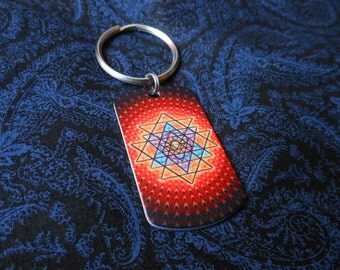 "Keychain ""Sri Yantra and Shiva"" Handmade Souvenir Glow in the dark"