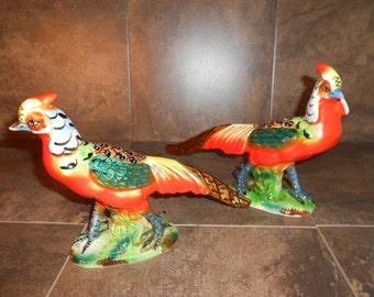 Pair of Pheasants Figurines/CenterPiece