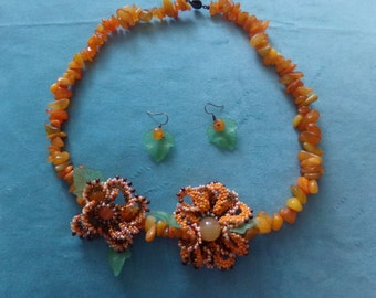 """Necklace and earrings made of carnelian, a set of """"Cerdà"""""""