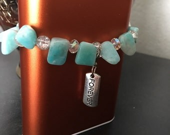Forever charm with semi-precious stones braclet