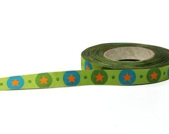 1/2 inch green and blue stars jacquard ribbon- Farbenmix - 12mm - STARdotzz
