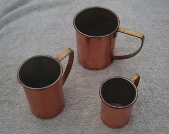 Three Copper Mugs/Measures? - Brass Handles - Tinned Inside - Vintage Copper