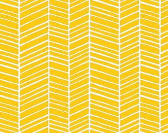 1 Yard Joel Dewberry Herringbone Yellow Fabric, Yellow Herringbone Fabric, Yellow Herringbone  PWTC007.YELLO