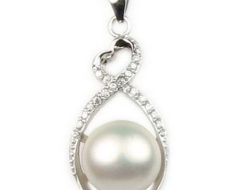 White pearl pendant, natural freshwater pearl pendant, bridal pearl pendant, 925 sterling silver pearl necklace, 10-11mm, F2655-WP