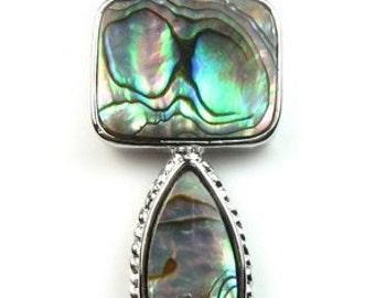 Abalone shell pendant, paua shell drop pendant, natural sea shell pendant, abalone paua pendant necklace, shell jewelry, SH1440-AP