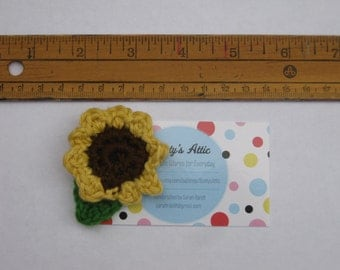 Crochet Sunflower for Michael Brooch #4