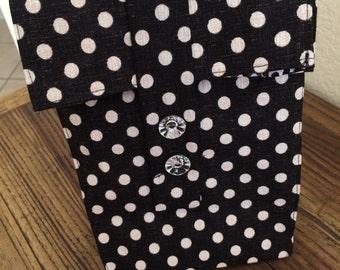 Reusable lunch bag for Women Polkadot black and white