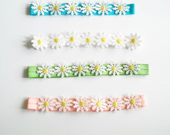 Free Shipping, Daisy Chain Headband, baby daisy  headband, white and yellow headband, baby crown, hippied flower headband, spring headband