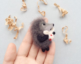Hedgehog in the fog needle felted brooch