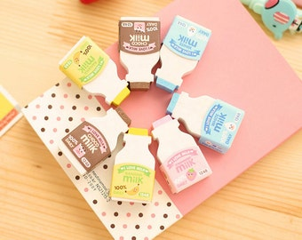 Kawaii Milk Bottle Eraser, Cute Eraser Set