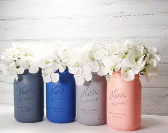 4- Hand Painted Quart Wide Mouth Mason Jar Flower Vases-Camille Collection-Country Decor-Cottage Chic-Shabby Chic-French Chic