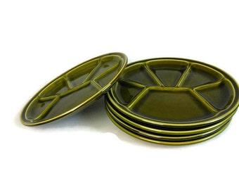 Green fondue plates, set of 5 fondue plates, French plates, divider plates, mid century