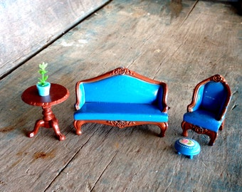 Mattel Cast Iron Dollhouse Furniture | Living Room Dollhouse Furniture Set | Cast iron dollhouse living room |  couch chair table 1980s