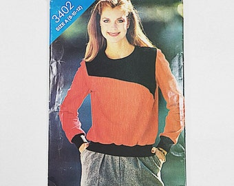 80s Sweater Pattern   Butterick 3402 Misses Color Block Pattern   80s Sewing Pattern   Factory Folded