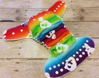 Cloth Diaper One Size Fitted Diaper, Rainbow Breastfeeding - Bamboo Fleece, One size OS Cloth Diaper