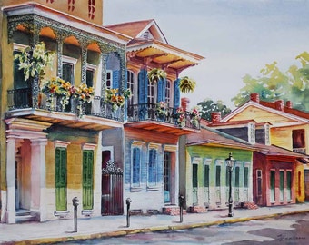 "Vieux Carre, historic architecture New Orleans French Quarter 8x10"" watercolor print"