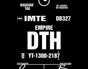 DTH Deathstar Luggage Tag - Men's Unisex Empire T-Shirt - Movie Mashup Parody Clothing