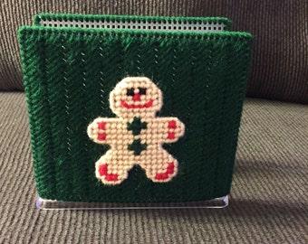 Plastic Canvas Napkin Holder-Handmade-Christmas-Gingerbread