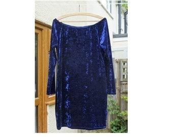 Vintage blue crushed velvet dress 80s