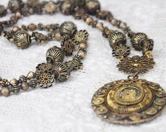 Antique Tambourine Necklace Brass Tamborin Tamburin Reliquary