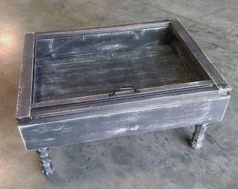shadow box coffee table - distressed black coffee table - storage coffee table - wood window table - military display table - shadow boxes