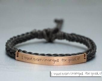 Memorial Signature Bracelet, Actual Handwriting Bracelet, Skinny Bar, Personalized Engraved Bracelet, Keepsake Bracelet, Brown Braided Cuff