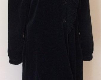 1980's Full Length Black Coat w/ Ruffled Collar