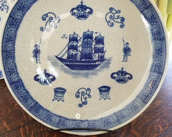 Delph. blue and white vinatage plate
