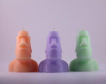 SET of 3 Moai Candles 3d printed
