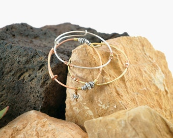 Hammered Bangle Set w/ Crystal Drop, Silver & Mixed Metals