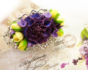 Purple bracelet Flower bracelet Floral bracelet Clay bracelet Rose bracelet Purple jewelry Сute clay jewelry Colorful bracelet