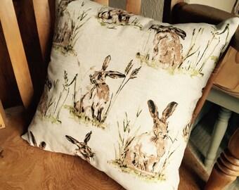 Vintage hares print linen cushion