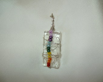 Wire wrapped mosaic glass with glass chakra color beads pendent