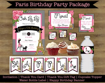 Paris Birthday Party Package; Paris Birthday Invitation; Paris Theme Birthday Party; Paris Party Decorations; Party Party Invitations