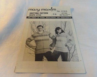 Knitting Pattern,  Adult Cardigan Sweater Size 38, 40, 42, 44 Graph Style Pattern Snowtime Mary Maxim 4194-4195