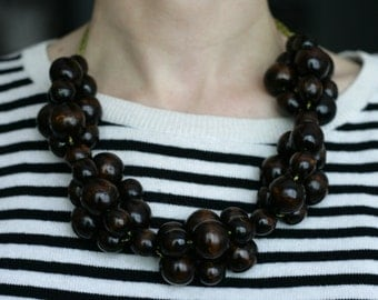 Brown Wooden Bead Necklace