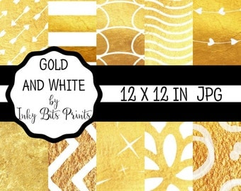 Gold and White Digital Paper Pack - Printable Scrapbook Paper - Gold Digital Background - Instant Download 12x12 - Commercial Use
