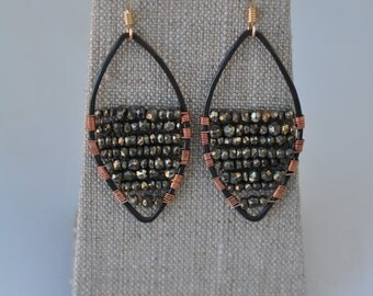 Pyrite wire wrapped statement earrings