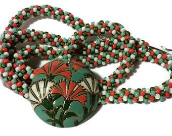 Orange & White Flower Pendant On A Kumihimo Necklace