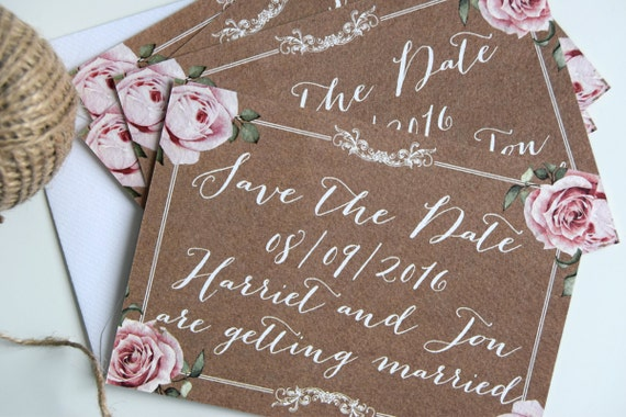 Vintage Kraft Wedding Save The Date Cards