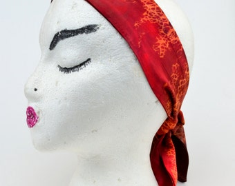 Hand Dyed Headband - Red Marbled Shibori Headband - Womens Headband - Rayon Headband - Red Headband - Wide Headband