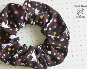 Hair scrunchies, Crazy cat lady, Brown scrunchy, Cats and flowers Wide scrunchie, Cat lover gift, Kawaii scrunchie, Gift for girlfriend