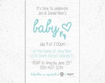 Baby Shower Invitation - Little Feet - Gender Neutral