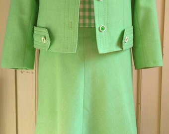 60s green gingham women's suit