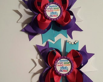 Fishing Girls Hair Bows.  Set of 2  Don't you wish your daddy could fish like mine?