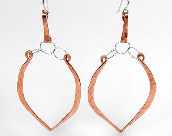 Mychal Copper and Sterling Teardrop Dangle Earrings