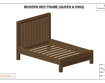 modern bed frame queen king drawing spec sheets
