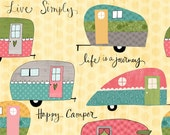 Yellow Campers Cotton Fabric from the On the Road Again Collection by Katie Doucette for Wilmington Prints
