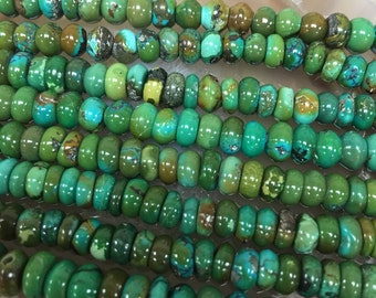 """Natural Turquoise 6mm Roundell  15.5"""" Long Loose Beads"""